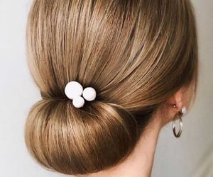 hair, updo, and hair style image