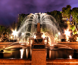 fountain, building, and city image