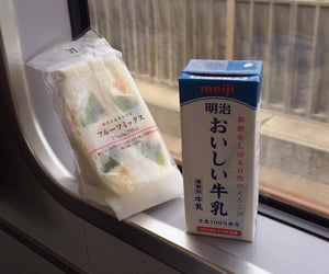 milk, on train, and fruits sandwich image