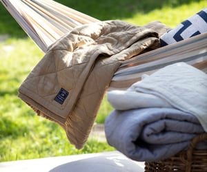 bedsheets, grass, and beige image