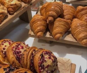 breakfast, chocolate, and croissant image