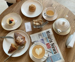 cafe, newspaper, and coffee image