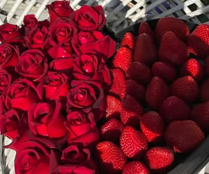 rose, strawberry, and flowers image