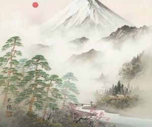 art, mountain, and japan image