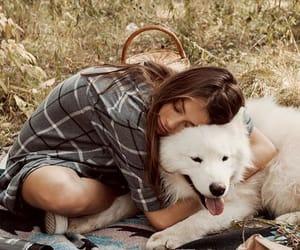 girl, hug, and dog love image