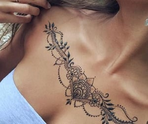 chest tattoo, ink, and tattoo image