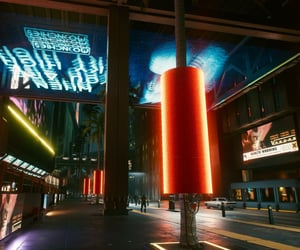 city, lights, and scifi image
