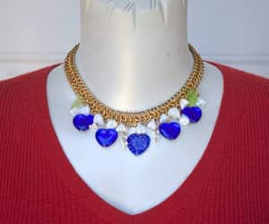 blue hearts, heart necklace, and blue white gold image
