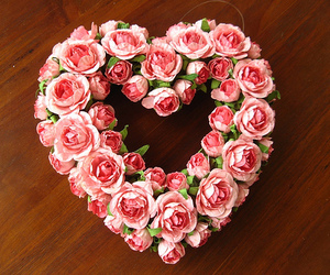 flowers, heart, and roses image