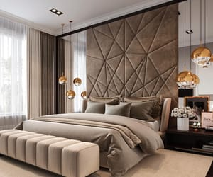 bedroom, beige, and decor image