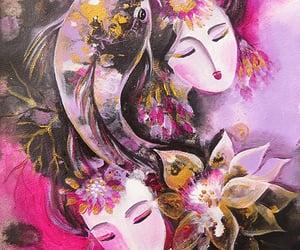 butterfly, lotus goddess, and koi fish image