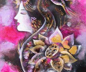 bird, koi fish, and lotus goddess image