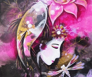 dragonfly, lotus goddess, and koi fish image