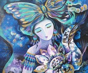 dragon, lotus goddess, and koi fish image