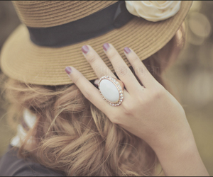girl, hat, and ring image