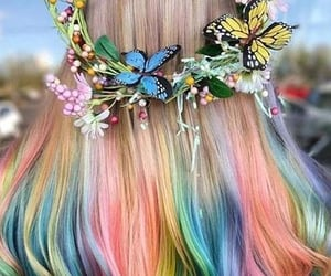 hair, butterfly, and girl image