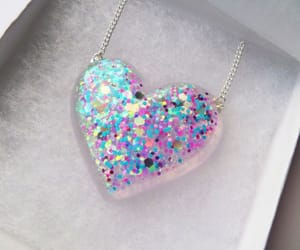 heart, iridescent, and necklace image