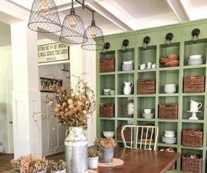 dinner table, green, and kitchen image