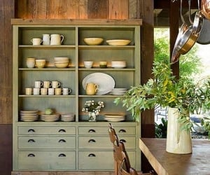 green, rustic kitchen, and wood image