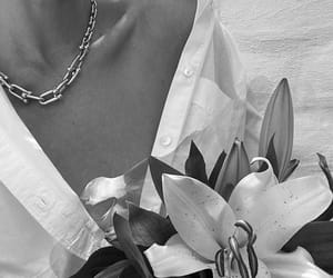 flowers, black and white, and fashion image