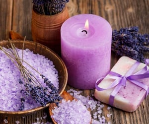 candle, flowers, and purple image
