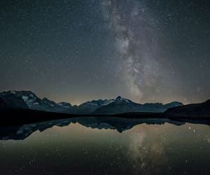 dark sky, galaxy, and lake image