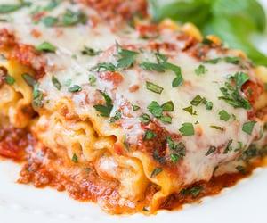 food, cheese, and lasagna image