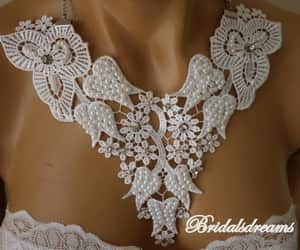 etsy, weddings, and white lace necklace image