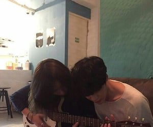 couple, guitar, and boy image