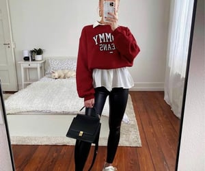 bag, blogger, and leather pants image