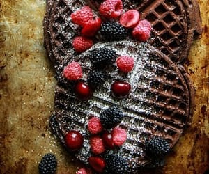 chocolate, FRUiTS, and waffles image