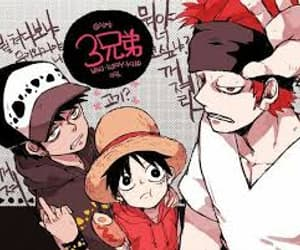 eustass kid, monkey d luffy, and trafalgar d water law image