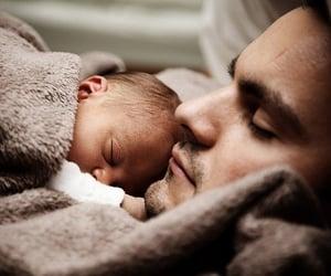 baby, dad, and sleep image