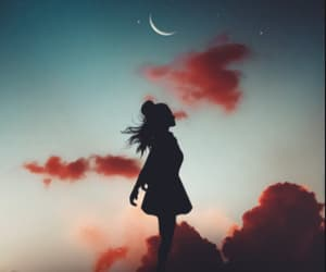 background, moon, and girl image