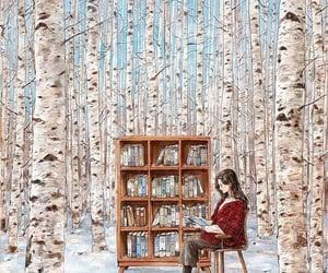 art, book, and girl image