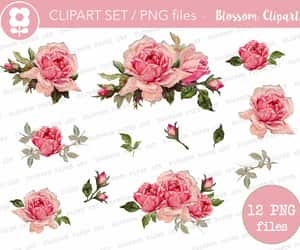 etsy, digital download, and clipart flowers image