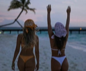 beach, palmtrees, and friends image
