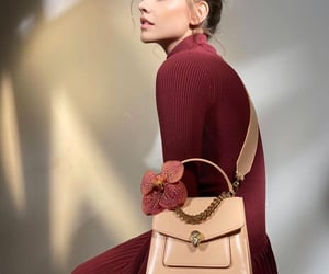 brunette, model, and purse image