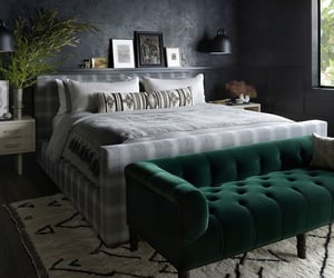 bedroom, dark interiors, and interior design image