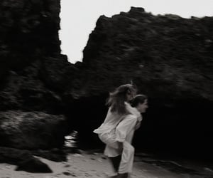 beach, black and white, and happiness image