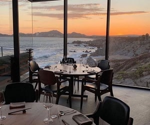 restaurant, sunset, and view image