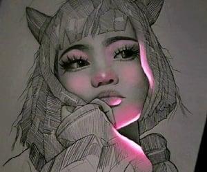art, girl, and highlighter image