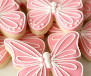 butterfly, pink, and Cookies image