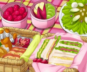 anime, food, and picnic image
