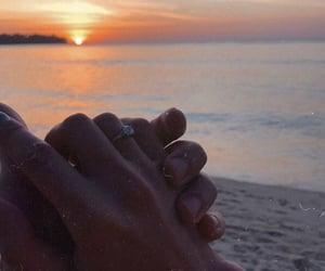 couple, hand, and sea image