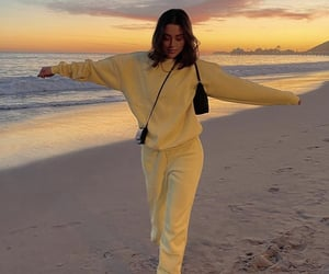 beach, jogger, and yellow image
