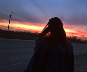 aesthetic, hair flick, and sunset image