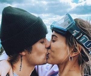 couple, kiss, and snow image