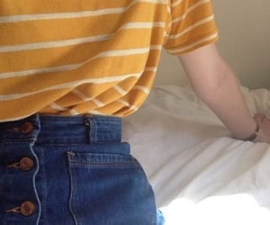 yellow, blue jeans, and fashion image