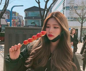 food, strawberry, and girl image
